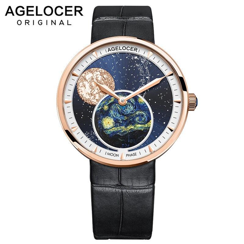AGELOCER Van Gogh Moonphase Watches Women Waterproof Quartz Watch Clock Women Watches Black Blue Lady Watch Relogio Masculino
