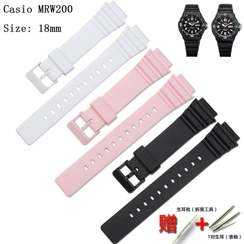 Аксессуары для наручных часов смолы каучуковый ремешок подходит для объектива с оптическими зумом Casio MRW-200H LRW-200H LRW-250H часы Молодежная Спортивная водонепроницаемый ремешок