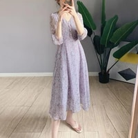 one piece women floral midi dress vintage puff sleeve purple chiffon dress female 2021 new summer korean elegant boho dresses