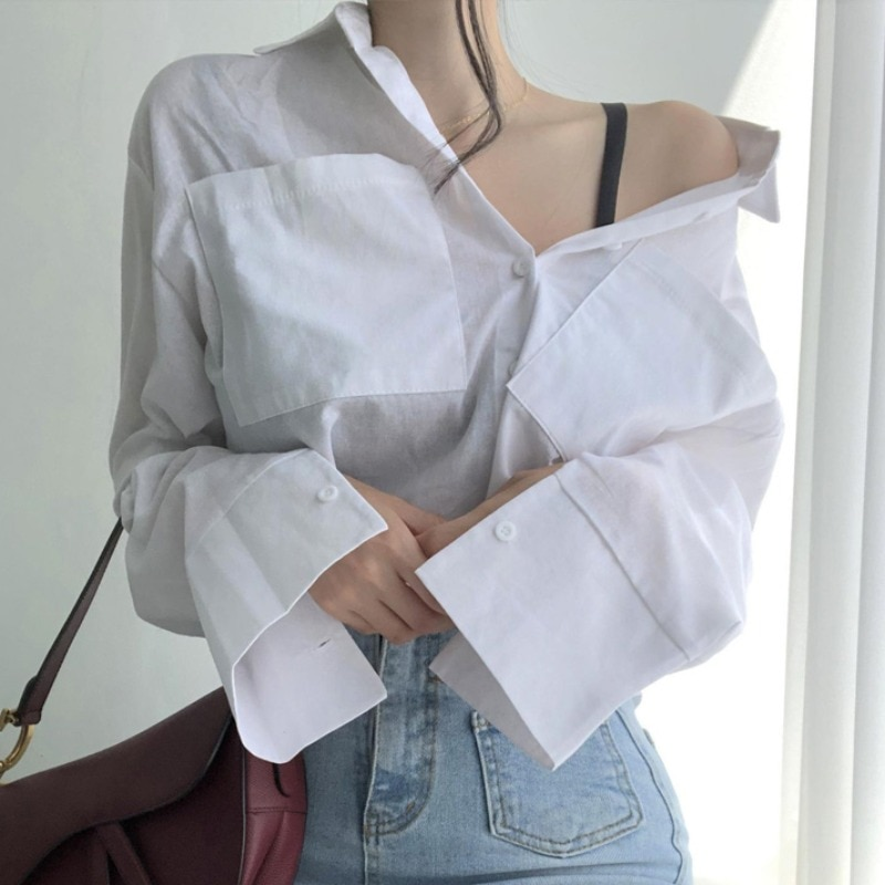 Top Women's Design Sense Niche 2021 Spring New Elegance Retro Top Solid Color off-Shoulder Long Slee