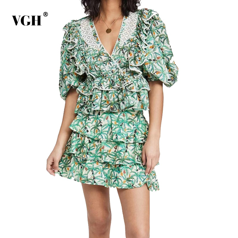 VGH ضرب اللون الصيف مجموعة للنساء الخامس الرقبة قصيرة الأكمام المرقعة الكشكشة القمم تنورة عالية الخصر طباعة قطعتين مجموعات الإناث 2021
