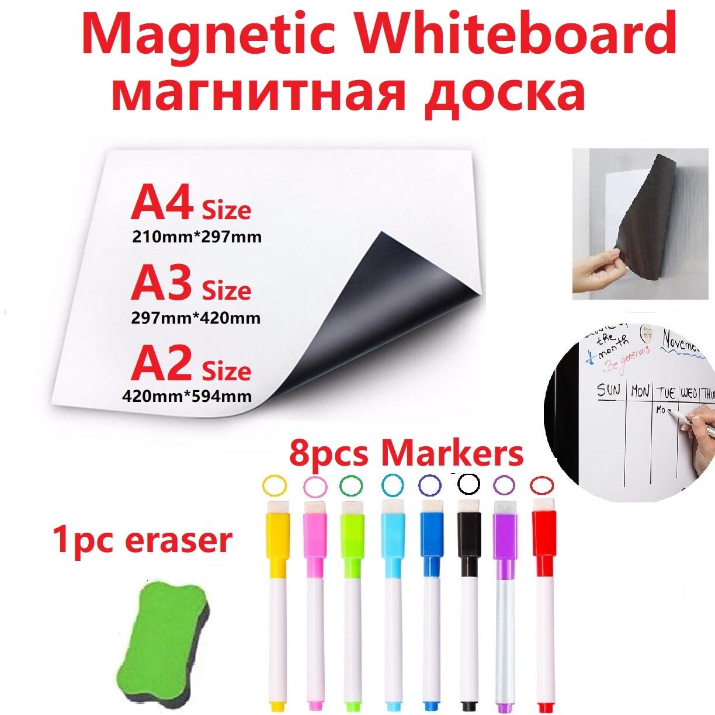 Pizarra blanca magnética, imanes para nevera, paño seco, pizarra blanca, bolígrafo marcador magnético, borrador, pizarra blanca de vinilo para discos de cocina