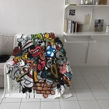 Dessin animé bouche crâne monstre briques imprimé flanelle couverture doux jeter couverture Machine lavable couvertures pour lits