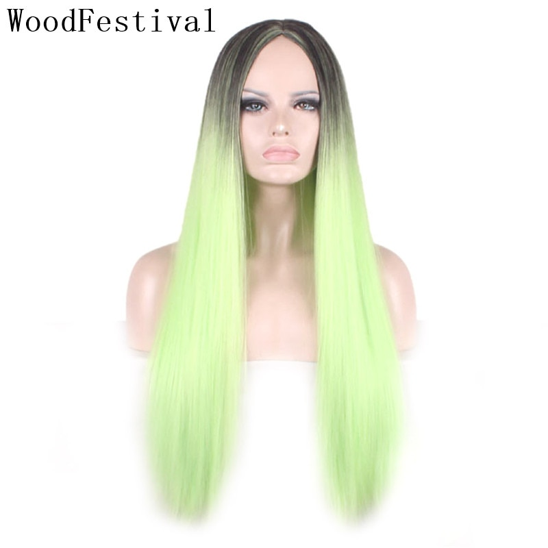 WoodFestival Straight Synthetic Wigs For Women Long Cosplay Hair Wig female Colorful Ombre Black Green Pink Blue Dark Brown