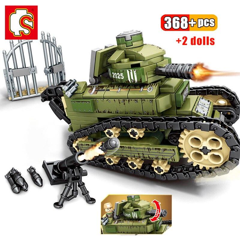 Bloques de madera de 368 Uds WW2 Renault FT17 Panzer tanque Tigre edificio militar soldado del ejército arma figura ladrillos juguetes para niños