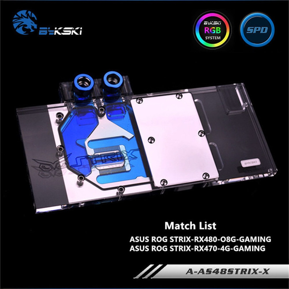 BYKSKI Gpu Water Block use for ASUS ROG STRIX RX590/RX480-O8G-GAMING/RX470 Video Card Full Cover Graphics Card Copper Block RGB