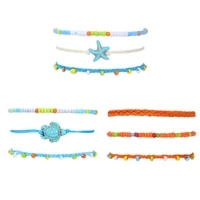 2021 new fashion bohemia women weaving anklets set summer colorful measle waterproof wax line beach anklets jewelry