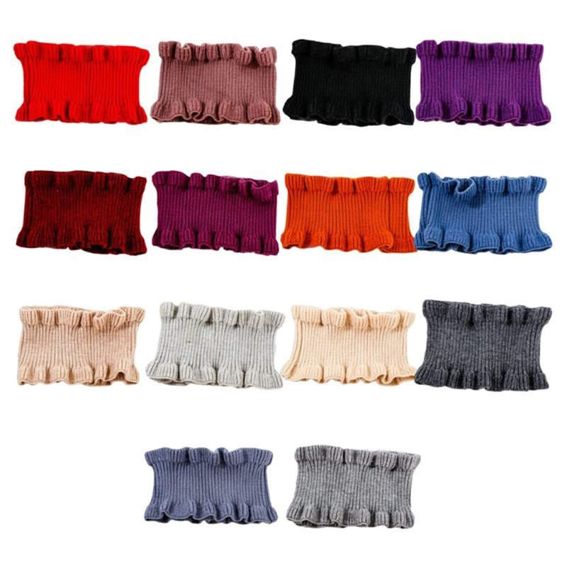 Women Girls Winter High Neck Warmer Ribbed Knit Ruffles Trim Solid Color Choker Circle Loop Decorative Fake Collar