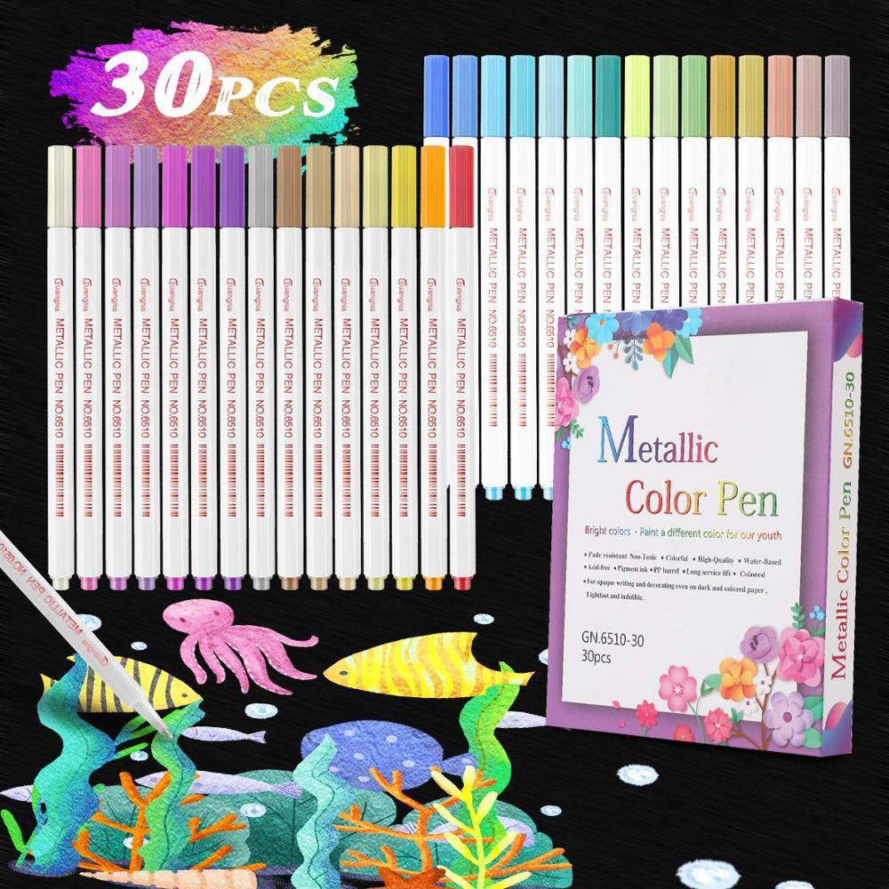 10/30Pcs/set Acrylic Paint Marker Pens Set Permanent for Stone Glass Metal Fabric Art School Supplies