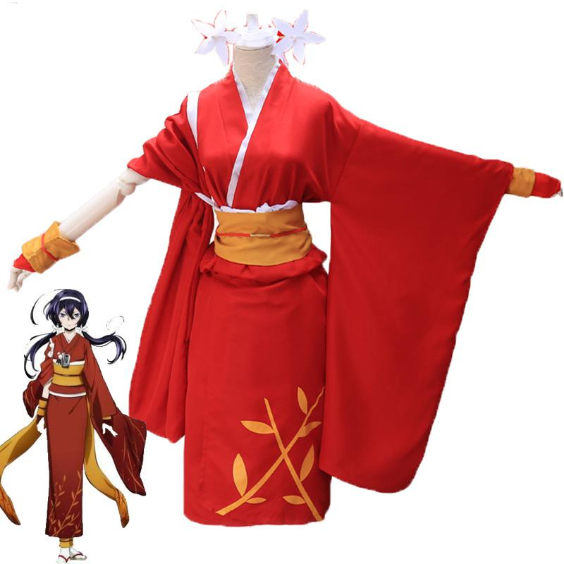 Disfraz de Cosplay de Anime Bungo Stray Dogs Izumi Kyouka, vestido de Kimono para mujer, chica, fiesta, Cosplay disfraces de Halloween
