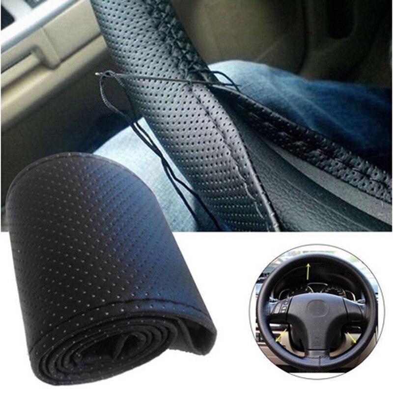Car hand-stitched DIY steering wheel cover for peugeot 307 vw passat b5 honda civic 2017 vw polo fiat stilo toyota verso audi a6