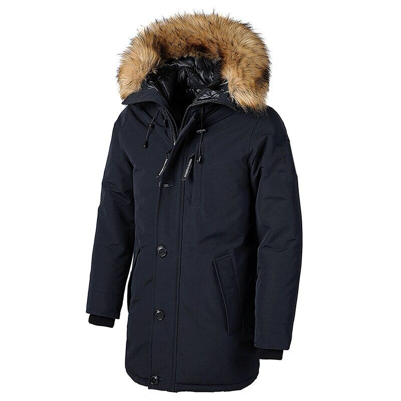 Men Brand Winter Faux Fur Collar Long Thick Cotton Hooded Parkas Jacket Coat Men Pockets Outwear Waterproof Jacket Parka Men