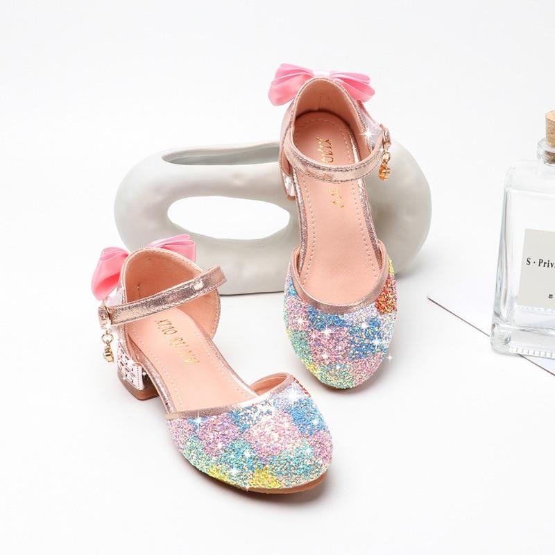 جديد الأميرة الاطفال أحذية عادية بريق جلد الزفاف الفتيات الصنادل قوس قزح الترتر صندل فستان حفلة عالية الكعب الاطفال الأحذية