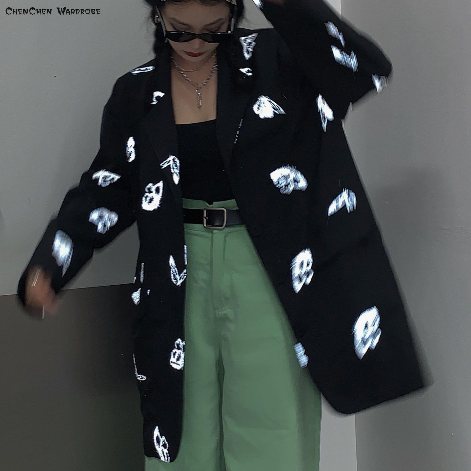 جاكيت بليزر نسائي ، عصري ، صدر واحد ، فراشة مضيئة ، ملابس فضفاضة ، أسود ، أبيض