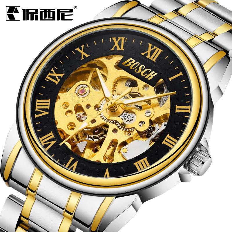 Reloj Mecánico Bosck de lujo resistente al agua para hombre, relojes con esqueleto automático de acero dorado, reloj Masculino completo