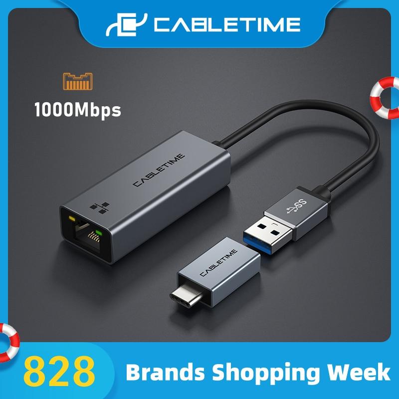 Cable USB Ethernet LAN RJ45 adaptador de tarjeta de red 1000Mbps para Nintendo Switch Laptop Dell adaptador USB C358