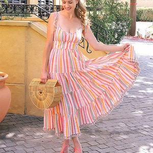 Beach with Casual Dress 2021 Summer New Elastic Chest Striped Women's Casual Chic Multi-color Striped Youth Dress Women