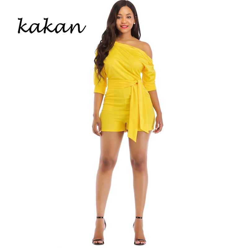Kakan 2019 summer new womens one-piece shorts solid color oblique collar button jumpsuit red black white
