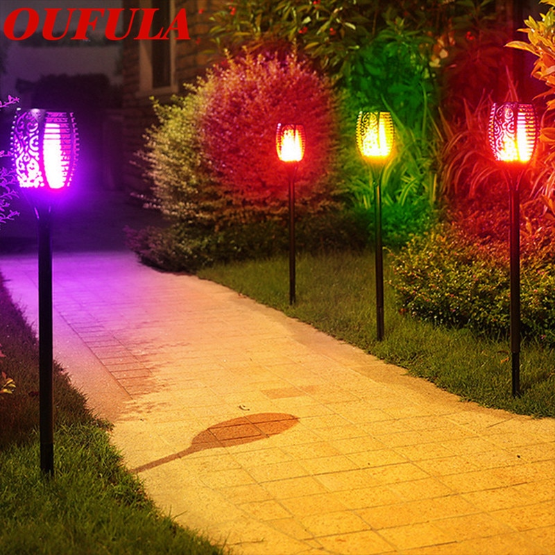 New Solar Lawn Light Flame Torch Light Outdoor Waterproof Garden Light Induction Landscape RGB Colorful IP65