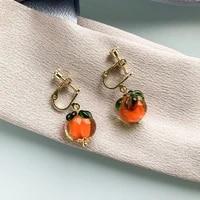 chinese garden rural vegetables earrings female glass persimmon pendant jewelry for woman japanese girl orange glass ear clip