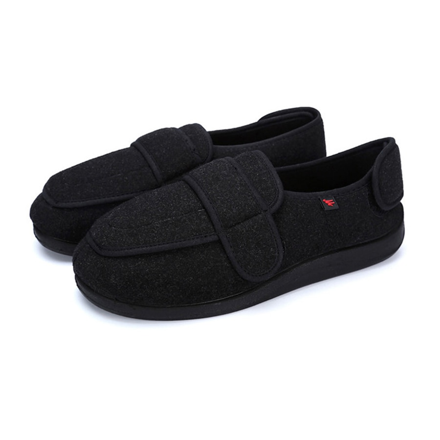 KNCOKAR-حذاء مشي من جلد الغزال الناعم كبير جدًا لكبار السن ، وجوانب واسعة لضبط قماش القدم