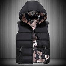 Men Hooded Vest Jacket 2021 Autumn Winter Down Jackets Wear on Both Sides Puffer Vest Camouflage Sle