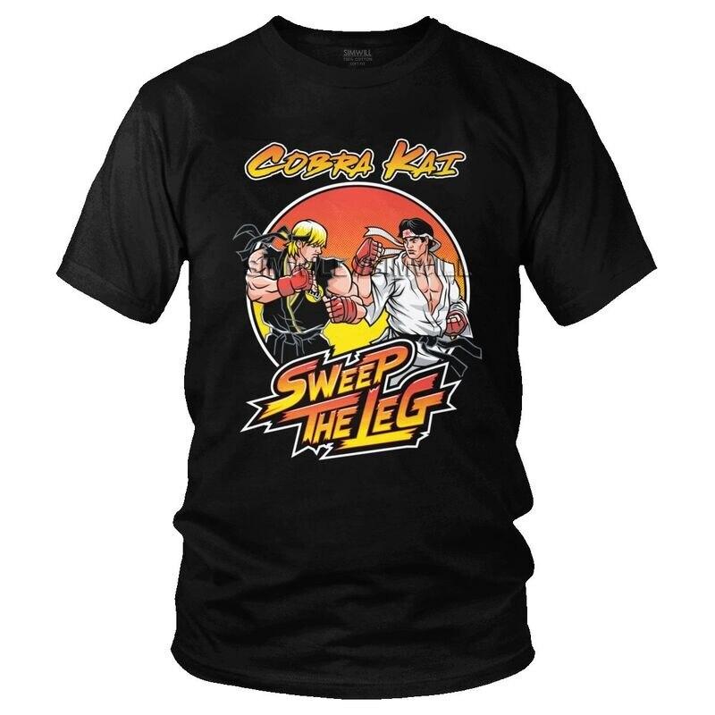 T-Shirt manches courtes homme, en coton, porté à même la peau, porté à même la peau, avec le karaté, Cobra Kai, Daniel Larusso, 1984