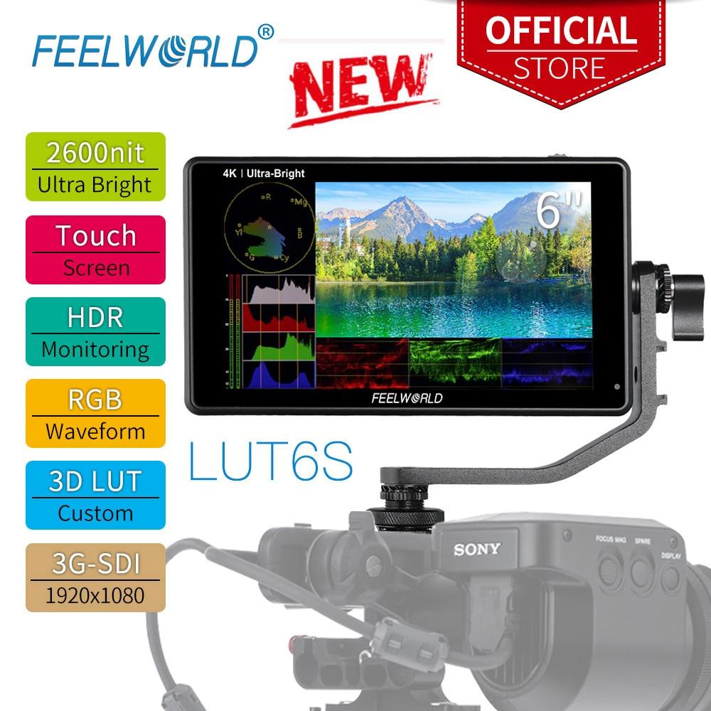Feel world شاشة 6 بوصة 2600nits تعمل باللمس ثلاثية الأبعاد LUT HDR كاميرا المجال DSLR مراقب مع الموجي لمثبت Youtube LUT6S