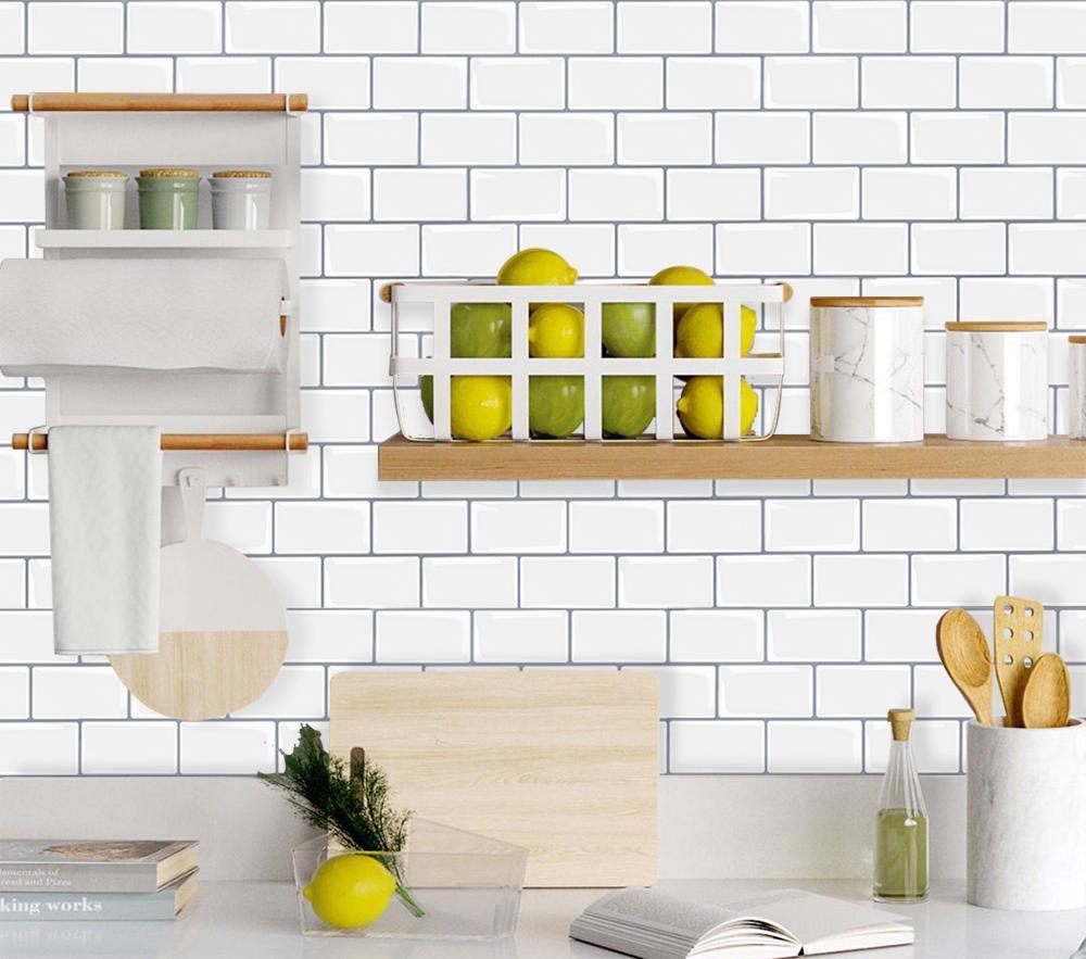 Vividtiles 12*12 Inch Self Adhesive 3D Peel and Stick Subway Wall Tiles for Kitchen & Bathroom Backsplash - 10 Sheet