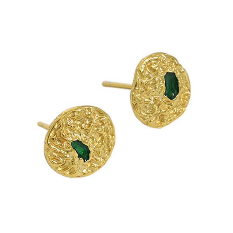 Vintage 925 Sterling Silver Earrings with Big Gem Round Gold Color CZ Zircon Patry For Women Fine Jewelry Luxury Gifts