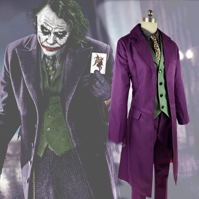 high-quality Heath Ledger Cosplay Suit Halloween mens Movie The Dark Knight Joker Costume Purple Jacket Full sets