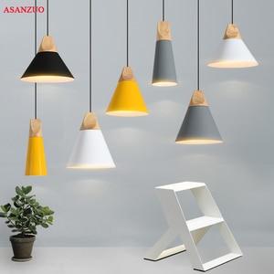Modern Wood Dining Room Lights Pendant Lamp Art Pendant Lights Lamparas Colorful Aluminum lamp shade Luminaire For Home Lighting