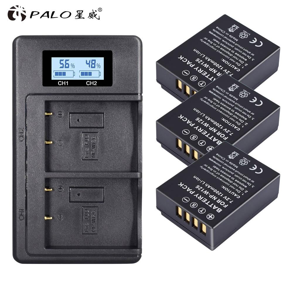 3 piezas 1260mAh NP-W126 pnw W126 baterías NPW126 y cargador LCD Dual para Fujifilm FinePix HS30EXR, HS33EXR, x-Pro1... X-E1... X-E2... X-M1