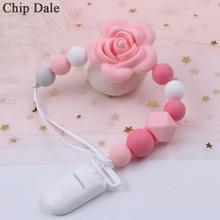 Pince à puce Dale pour bébé Silicone   Clips de sucette chaîne fleur de Silicone pendentif nouveau-né bébé, Clip factice, chaîne, cadeau de douche pour bébé