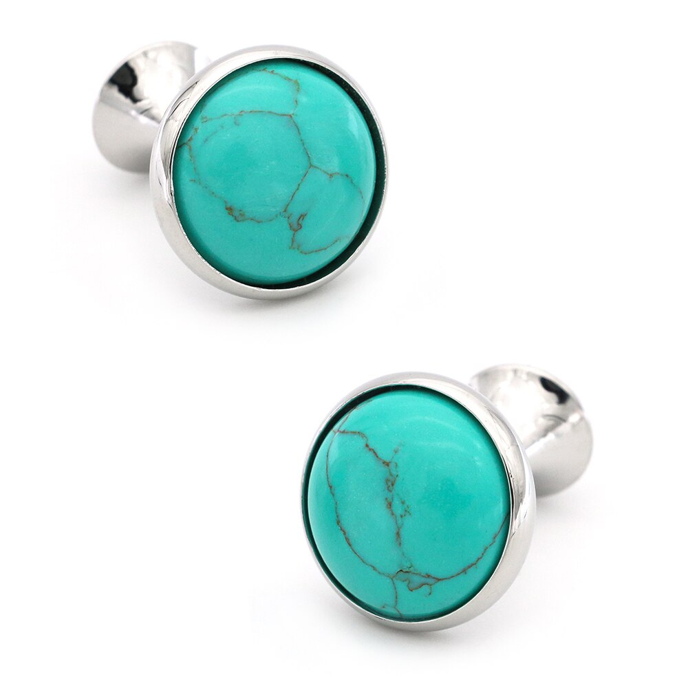 Round Design Stone Cufflinks Quality Brass Material Blue Color Cuff Links Wholesale & Retail