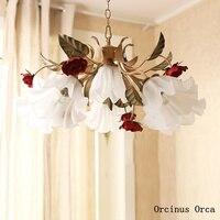 Rural Retro Red Rose chandelier restaurant cafe bedroom Nordic creative flower glass chandelier free shipping
