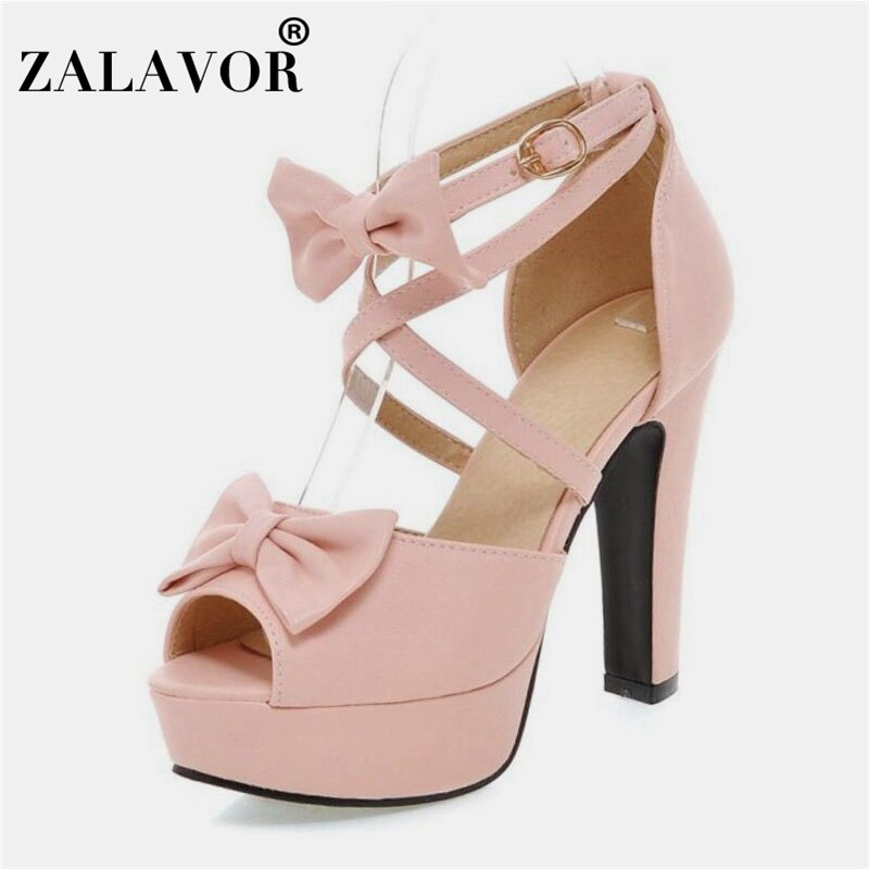 Zalavor tamanho 31-47 sandálias femininas doce peep toe bowtie estilo sapatos femininos moda fivela sexy vestido de festa sapatos femininos