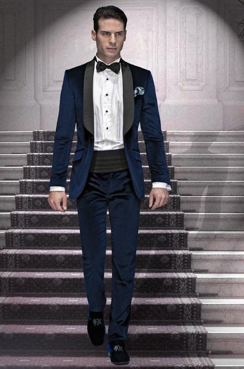 Handsome Velveteen Groomsmen Shawl Lapel Groom Tuxedos  Men Suits Wedding/Prom/Dinner Best Blazer(Jacket+Pants+Tie) 028
