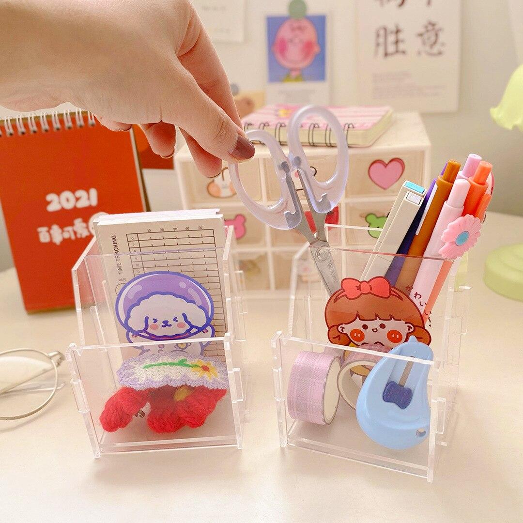 milkjoy suporte de caneta de acrilico transparente sacola de armazenamento de desenho