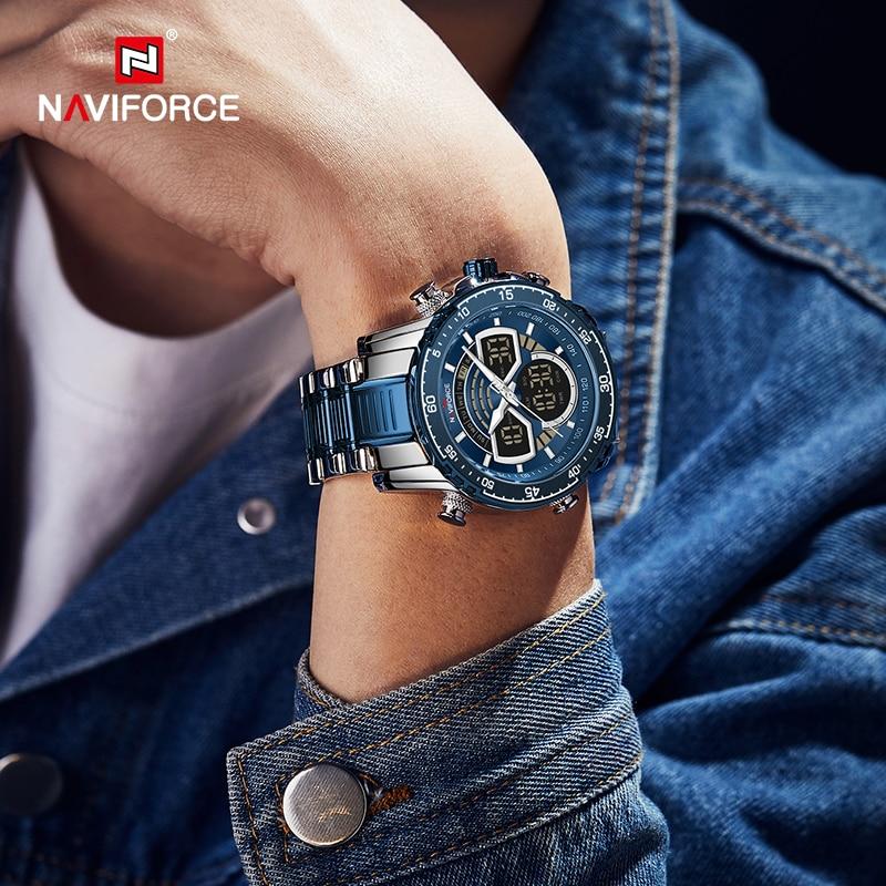 NAVIFORCE Mens Military Sports Waterproof Watches Luxury Analog Quartz Digital Wrist Watch for Men Bright Backlight Gold Watches