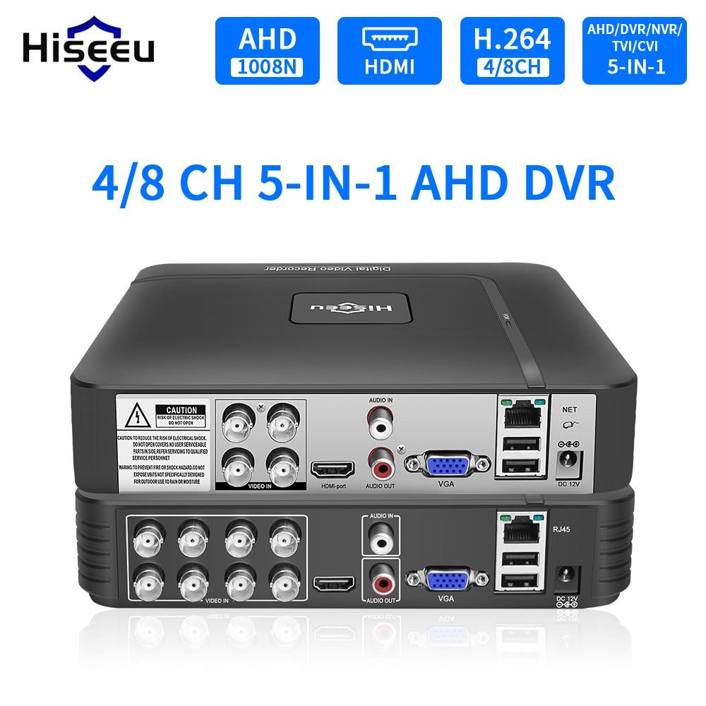 Hiseeu 5 in 1 CCTV Mini DVR TVI CVI AHD CVBS IP Camera Digital Video Recorder 4CH 8CH AHD DVR NVR CCTV System Support 5MP/2MP