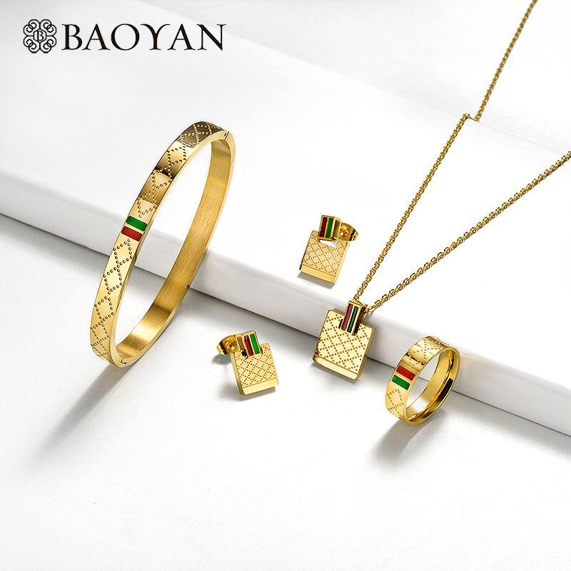 Baoyan famosa marca al por mayor de la joyería de acero inoxidable anillo, collar, pulsera, pendientes boda juegos de joyería para las mujeres