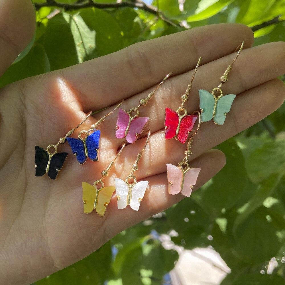Cute Glitter Acrylic Butterfly Earrings for Women Korean Style Drop Earrings Korean Fashion Dangle E