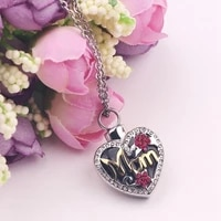 new trendy heart shaped pendant bohemian crystal inlaid necklace pendant mothers love metallic silver plated sliding pendant