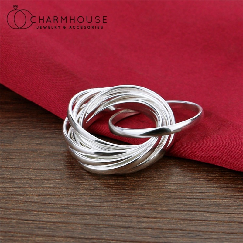 Pure Silver Finger Rings For Women Nine Loops Ring Anillo Bague Femme Trendy Jewelry Accessories Bijoux Party Gifts