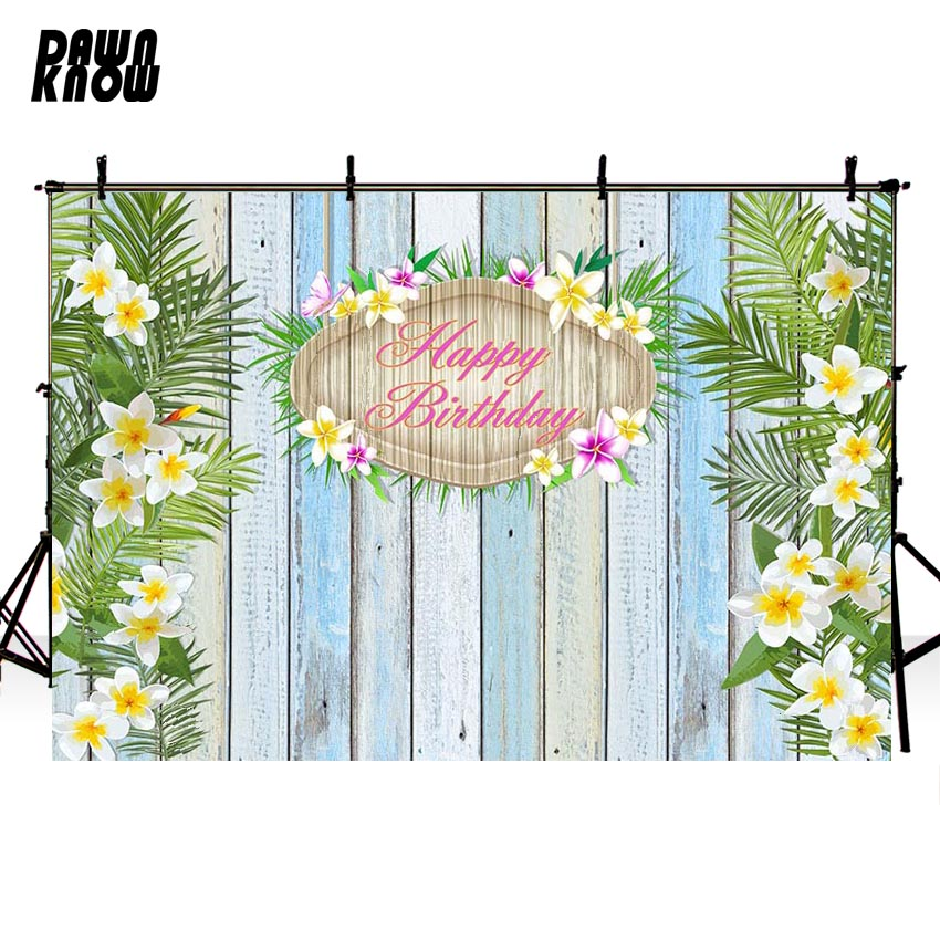 DAWNKNOW Flower Vinyl Photography Background For Baby Wood Wall Photo Shoot Backdrop For Happy Birthday Party Photo Studio G695