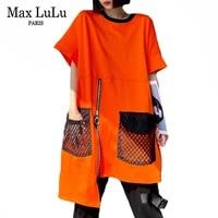 max lulu korean irregular design 2021 summer streetwear womens loose short sleeve tees ladies mesh patchwork tshirts girls tops