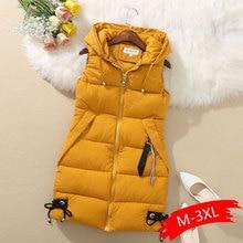 Chaleco de talla grande para mujer, chaqueta de invierno con bolsillo, Abrigo con capucha, chaleco acolchado de algodón informal cálido, chalecos finos para mujer, envío directo
