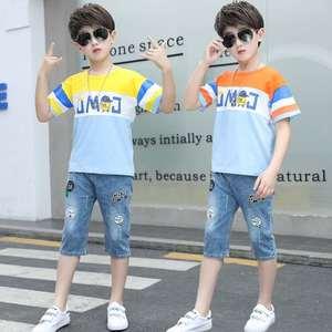 Kids Boys summer suit 2020 new casual children's cotton short sleeve set boys' T-shirt +Denim shorts  pants 2-13 y boys clothes