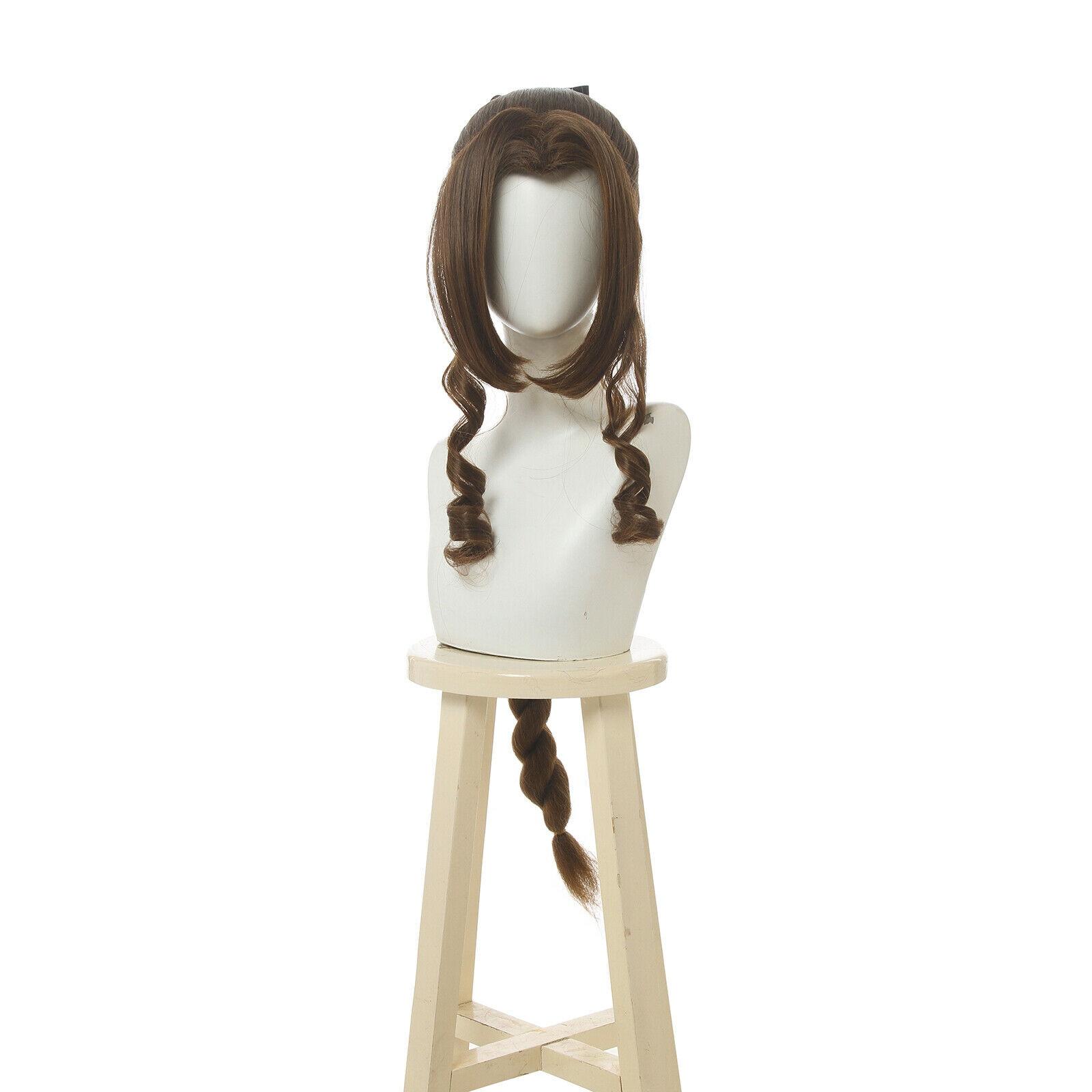 Final Fantasy VII Remake Aerith gainsfield Peluca de Cosplay, trenzas y pelucas largas de color marrón